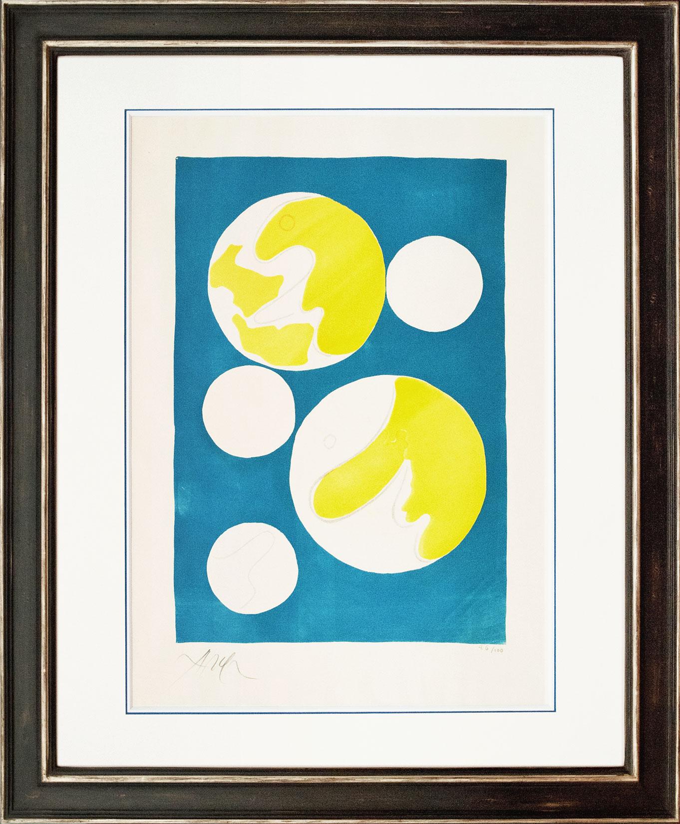 Hans Arp « Cinq lunes sur fond bleu » Galerie Française