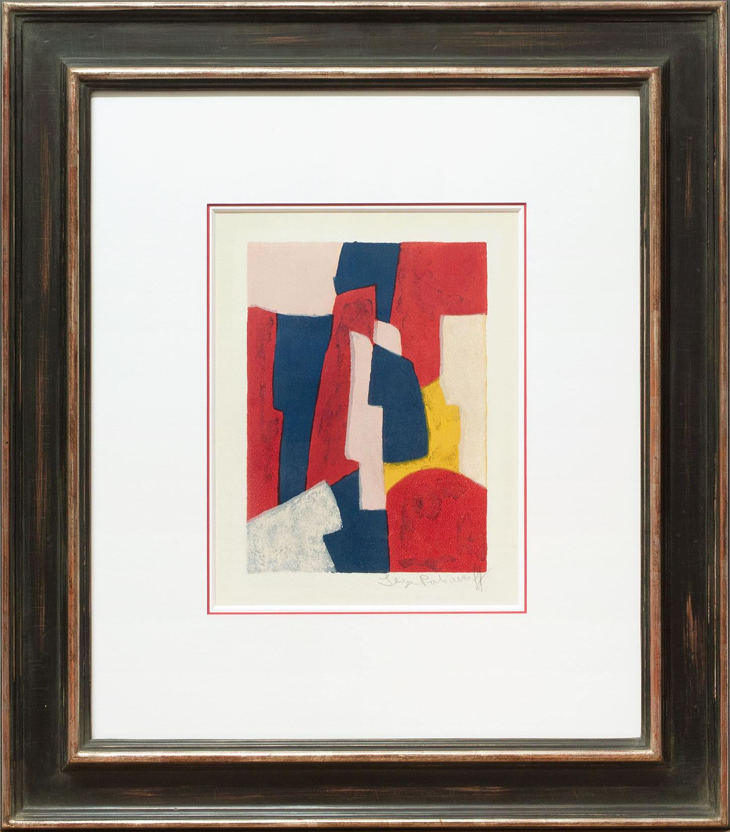 Serge Poliakoff « Composition bleue, rouge et rose » Galerie Française