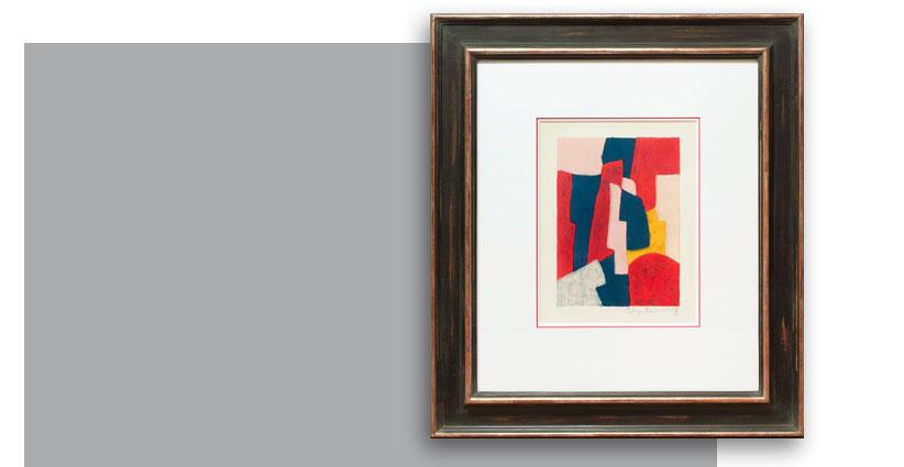 Serge Poliakoff, composition bleue rouge et rose