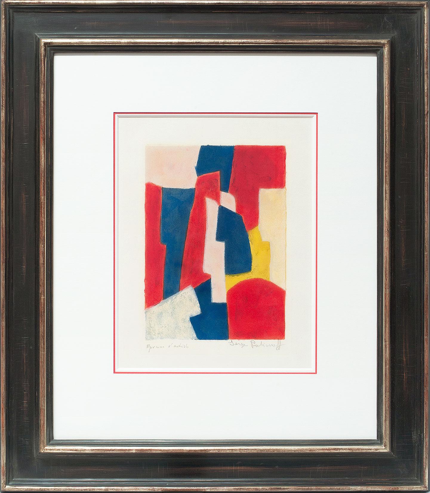 Serge Poliakoff «Composition bleue, rouge et rose» Galerie Française