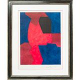 Composition bleue, rouge et noire