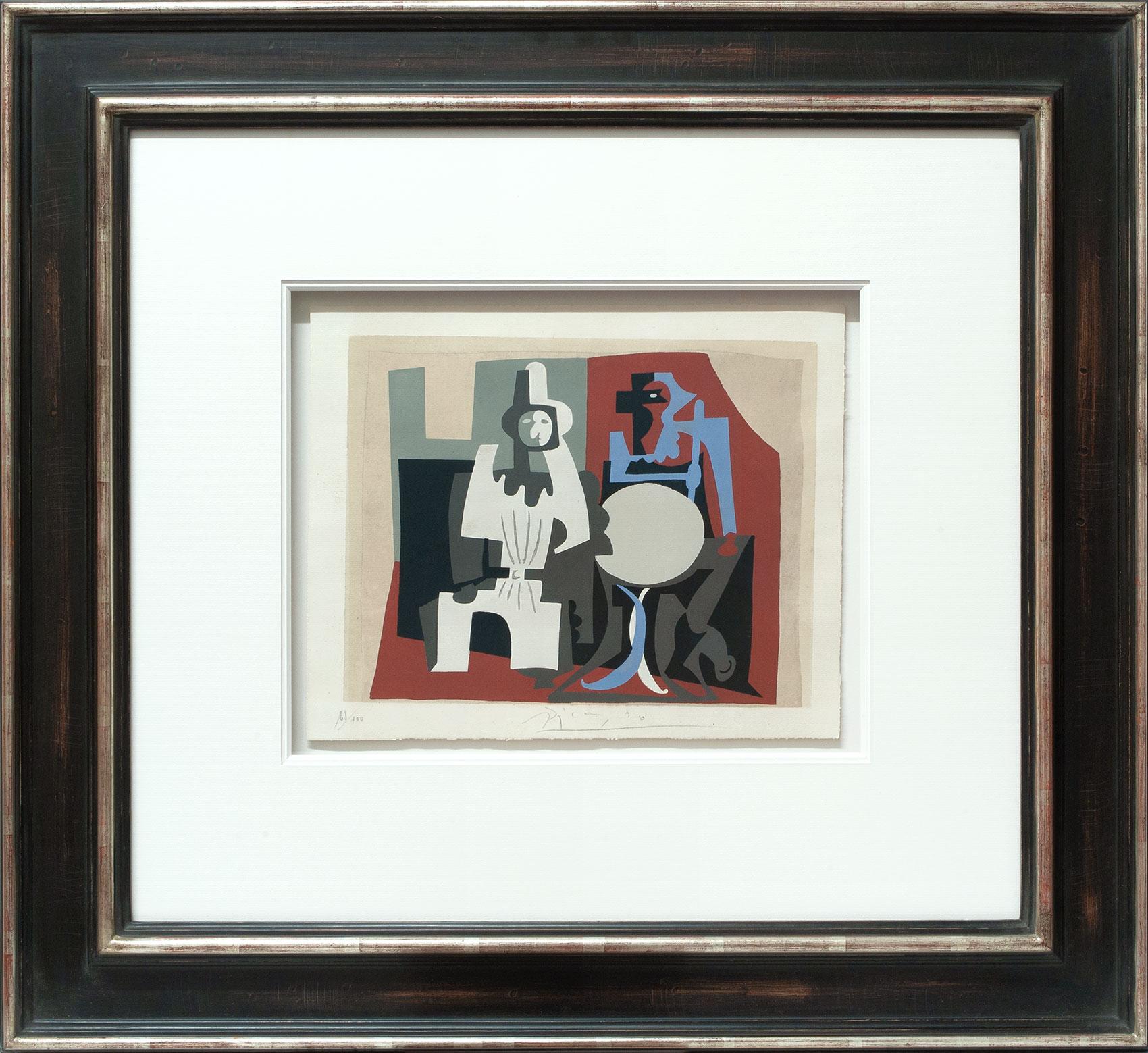 Pablo Picasso «Pierrot et arlequin à la terrasse» Galerie Française