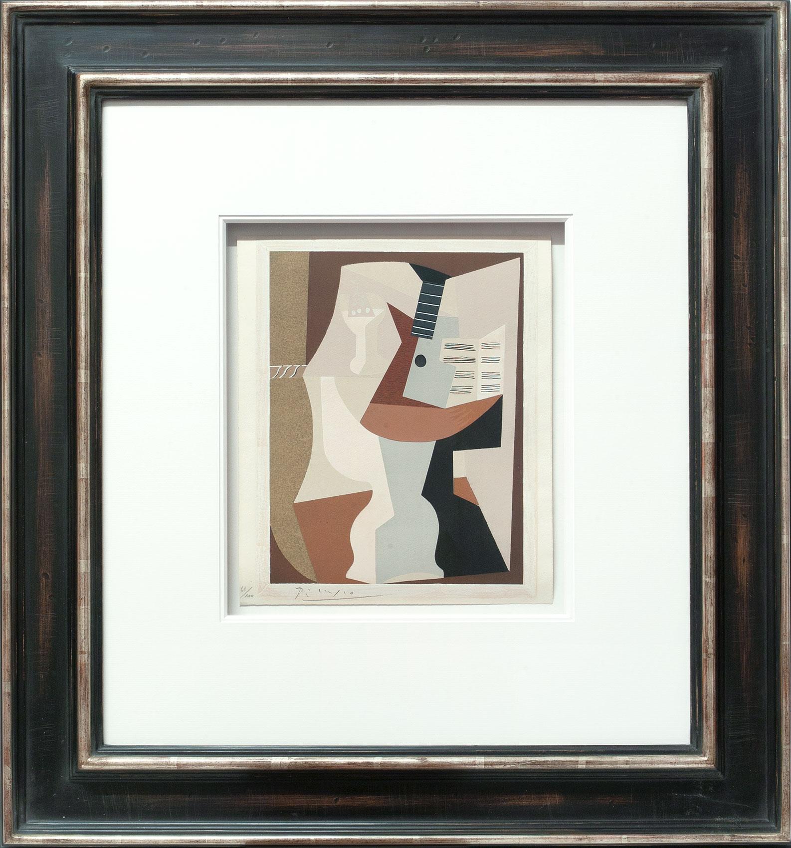 Pablo Picasso «Guéridon, guitare et partition II» Galerie Française