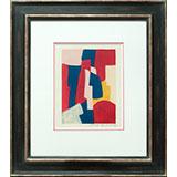 Composition bleue, rouge et rose