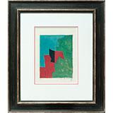 Composition rouge, verte et bleue