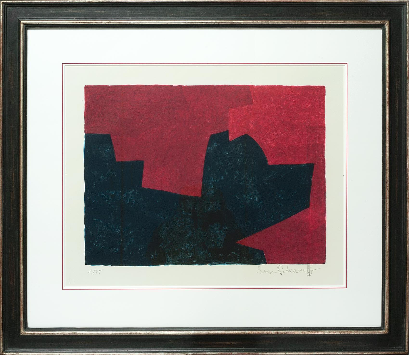 Serge Poliakoff, Composition lie-de-vin et bleue, Galerie Française
